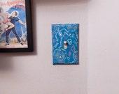 Calaveras Sugar Skull Skeleton Light Switch Plate in Teal Blue