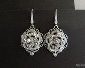 Bridal Earrings,Wedding Earrings,Rose Earrings,Teardrop Chandelier Dangle Earrings,Vintage Style Bridal Jewelry,Dangle Earrings,ROSELANI
