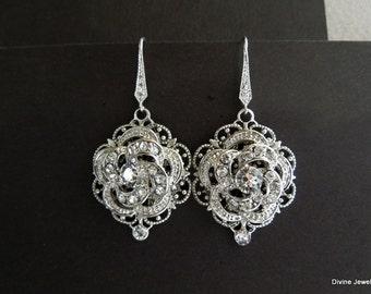 Bridal Earrings Swarovski Teardrop Chandelier Earrings Long Rhinestone Earrings Wedding Crystal Earrings Statement Bridal Earrings ROSELANI