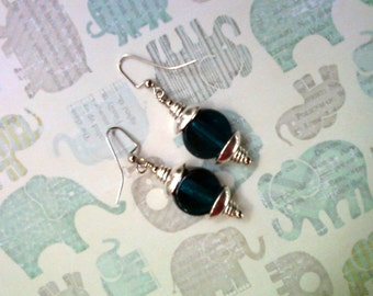 Dark Aqua Blue and Silver Earrings (1899)