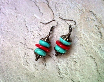 Turquoise, Red and Black Earrings (1898)