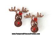 "Set of 2- Reindeer Sliders- Approximately (23mm= Approx . 1"") Rhinestone Center, Christmas Rhinestone, Reindeer Rhinestone"