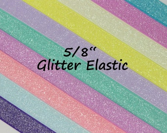 """5YD-Frost Glitter Elastic-5/8""""-You Choose Colors"""