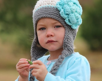 Crochet baby hat, earflap baby hat, Ecru, grey, robbins egg earflaps hat for girl, baby girl, any sizes, cute