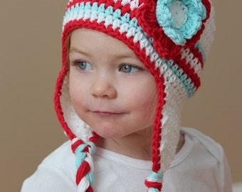 Baby girl hat, crochet earflap hat, earflap hat with flower for girl