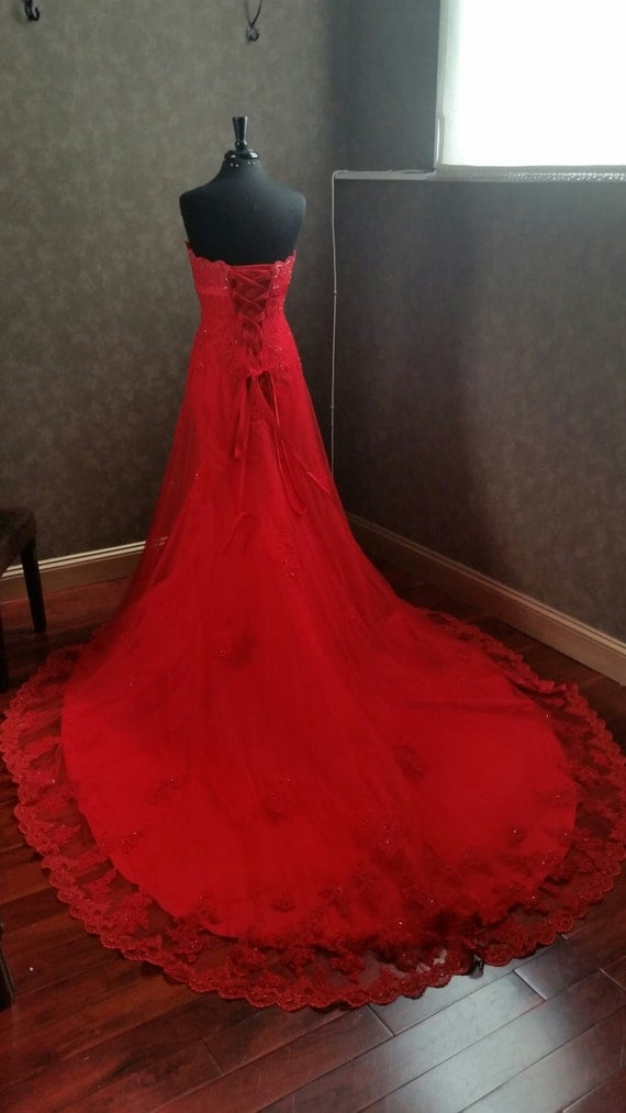 items similar to amazing red wedding dress with french