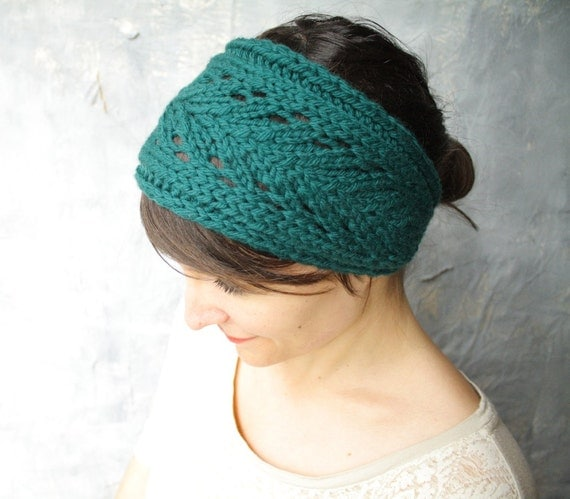 Lacefield Knit Headband with Button - Merino Wool - Deep Teal Emerald