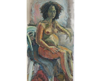 Meytal, pregnant, original oil painting on canvas. 40-50 % discount upon request.
