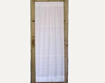 Linen Door Panel, Kitchen Glass Door Curtain, French Linen Sidelight Curtain, Paris Decor, Front Door Curtain