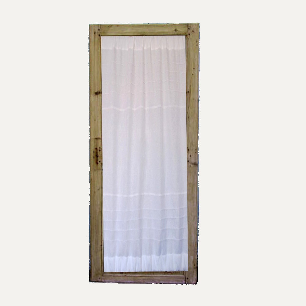 Glass door panel kitchen linen curtain french by linenandletters - Curtain for kitchen door ...
