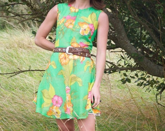 Citrus Kiss, Vintage, Floral Print Mini Dress, from Paris