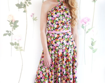 Botanic Bomb, French Vintage, 1970s Floral Maxi Dress, from Paris