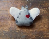 Angel Kitty Ornament - Stenciled Light Gray Tabby Kitty