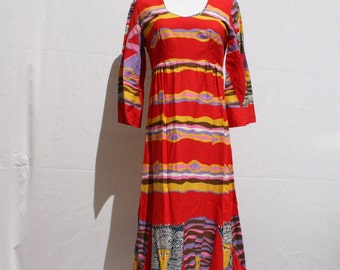 60's Empire Cut Psychedelic Vintage Dress