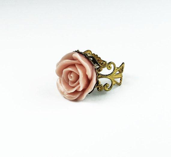 Light Pink Lucite Rose Brass Filigree Ring