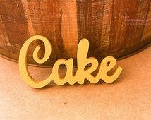 "Cake Sign for Wedding Cake Table - Gold Metallic Freestanding ""Cake"" - Wedding Reception Sign Decoration (Item - TCK200)"