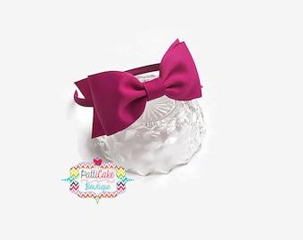 Girls Hairband/Photography Props/Toddler Headbands/Fuchsia Pink Hair Bow Headband/Little Girls Headbands/Back to School Fall Headbands