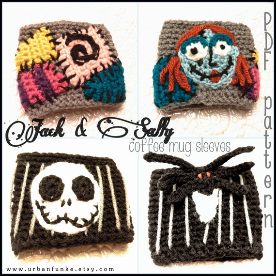 Nightmare Before Christmas Jack And Sally Coffee Mug Sleeves