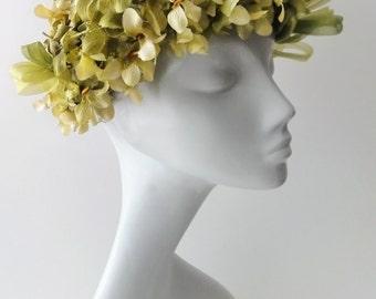 Vintage Spring Hat Flower Petals Floral Green Mitzi Lorenz