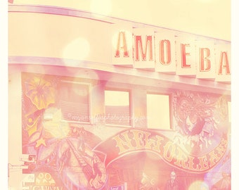 Amoeba Records photograph, Sunset Blvd, Hollywood Los Angeles photo, music, pink, vinyl records, rock star musicians, print, loft art