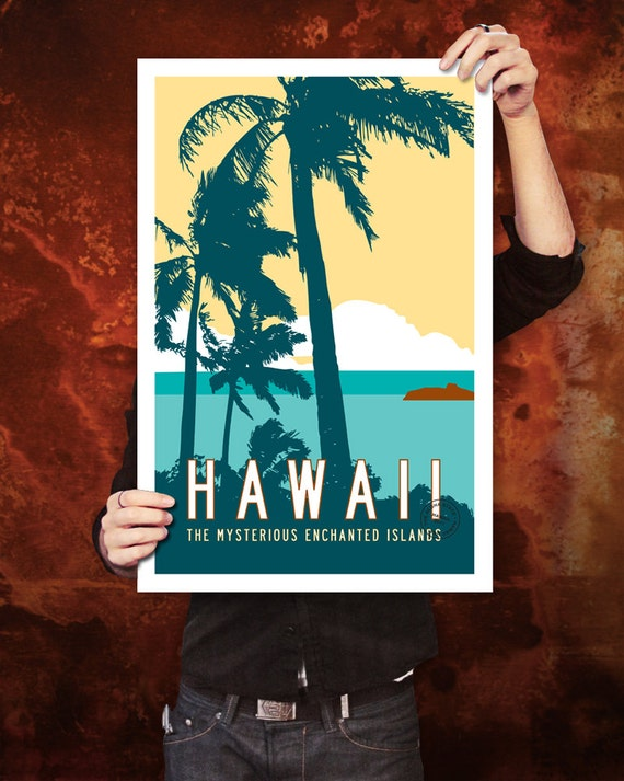 HAWAII Travel Poster Art, Personalized Vintage Style Hawaiian Print, Tropical Illustration, Retro Island Décor with Palm Trees. 20 x 30