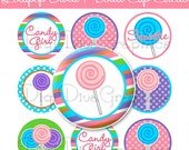 "Lollipop Sweetie Candy Girl Bottle Cap 1"" Circles Images - Digital Graphics You Print Crafts - NO.224"