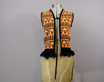 VIntage 70s Sweater Vest // 1970s Hippie Boho Cardigan Halloween Costume Women // Tribal Print Black Fringe // One Size