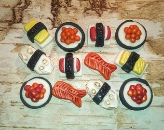 Fondant Sushi Decorations, Fondant Cupcake, Cake, Cookie Toppers. Set of 12 (2 of each Pattern)