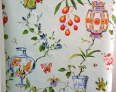 Vintage Wallpaper blue floral chinoiserie  green rose orange colorful  wall paper 1950s