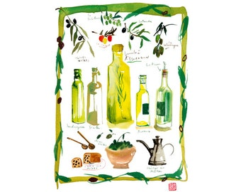 Olive oil bottle poster, 8X10 print, Italian kitchen print, Food art, Yellow kitchen decor, Watercolor painting, Food print Kitchen wall art