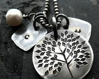 Personalized Tree Necklace - Personalized Initial Necklace - Mothers Tree Necklace - Quality Sterling Silver