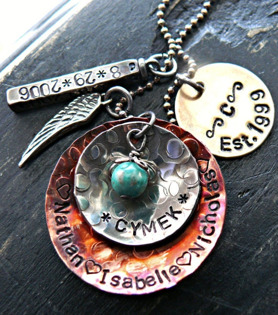 Personalized necklace hand stamped jewelry by yourcharmedlife for How to make hand stamped jewelry