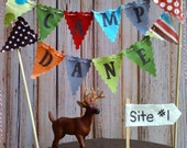 Cake Bunting Camping theme cake topper fabric flags sewn with Bakers Twine Woodland theme