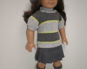 GRAY PLEATED SKIRT 18 inch doll clothes