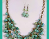 Sea turtles and starfish multi-strand necklace and earrings set