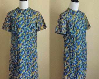 60s Pixel Shift Dress / 1960s Puzzle Day Dress / Blue Green Print Dress / Short Sleeve Dress M L