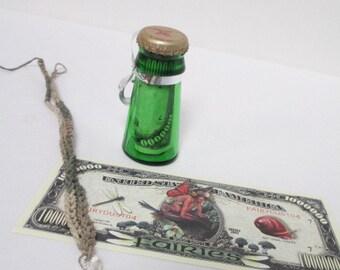 FAIRY STASH JAR Gift Set - Handmade Mushroom Hemp Necklace, Fairy Dollar inside Yuengling Upcycled Bottle