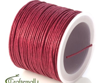 SALE 50% OFF: Dark red waxed cotton cord - 1mm waxed cotton cord - 1 roll (25meters)