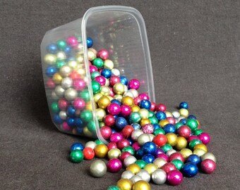 Very vintage rescued iridescent multicolor beads. Colorful retro Christmas decor.