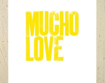 Yellow typographic art print - Mucho Love - by Erupt Prints