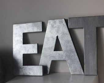 3 Faux Metal Letters Zinc Steel Initial Home Room Decor Eat Signs Letter Vintage Style Designer