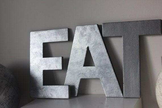 3 faux m tal lettres zinc acier initial home d cor de salle - Lettre decorative metal ...