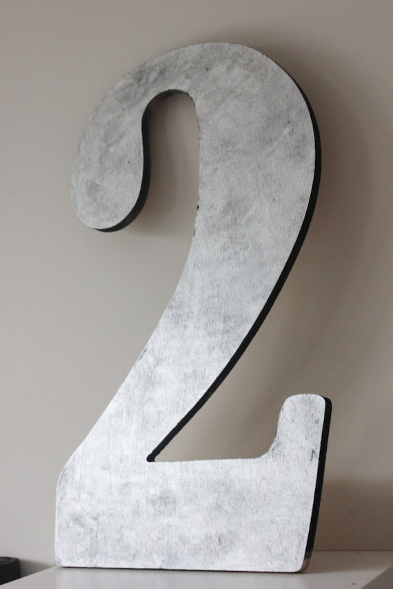 2 Xlarge Faux Metal Number Zinc Finish Steel Initial Home