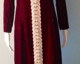Boho  1970s  Bordeaux Maxi Velvet and Lace Dress