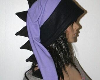 Dragon Hat Purple Black Long Snowboarding Dinosaur Tail Hat Fleece Winter Ski