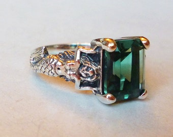 Mesmerizing Green Amethyst Mermaid Antique Style Ring in Sterling Silver Sz 6 // Semiprecious Gemstone Victorian Art Nouveau Goddess Deco