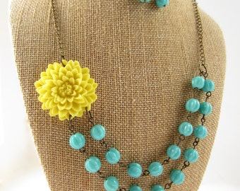 Flower Necklace Yellow Necklace Bridesmaid Jewelry Set Wedding Jewelry Statement Necklace Turquoise Double Strand Necklace