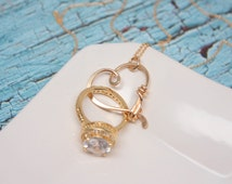 Ring Holder Necklace, Yellow Gold Filled, Wedding or Engagement Ring Holder Pendant / Heart Clasp Ring Holder Pendant, Charm Holder Necklace