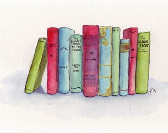 Books Watercolor Painting - Stack of Books Illustration - Red Green Blue Literature Original Watercolor Painting, 9x12