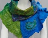 Nuno-felted shawl - felted big scarf -Paisley print -  merino wool - handmade one of a kind -Babushka Shawl Two